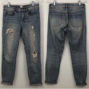 J.Crew Distressed Boyfriend Jeans Full Length Blue